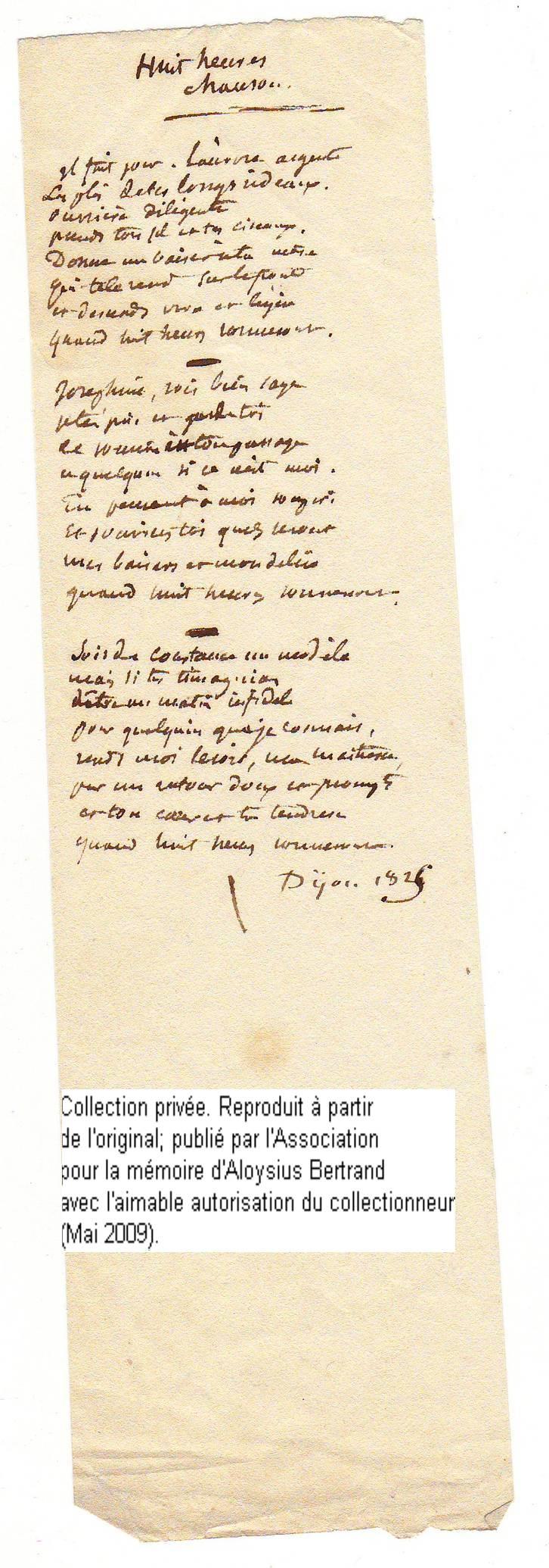 Second poème autographe connu de Louis Bertrand